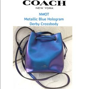 NWOT COACH Metallic Blue Hologram Derby Crossbody